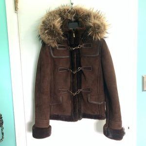 Coach Lamb Shearling Coat with Mink Trim